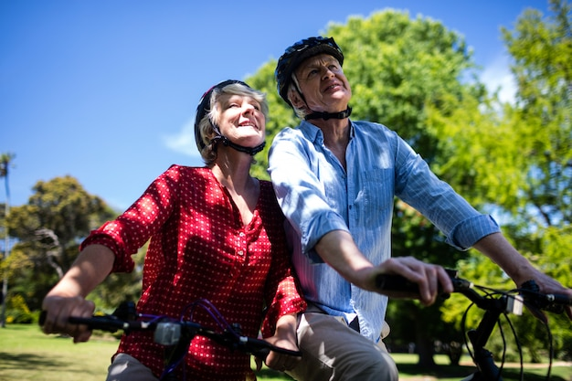 Happy couple riding a bicycle in park