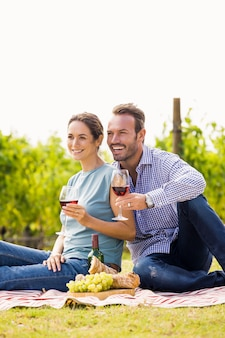 Happy couple with wineglasses looking away