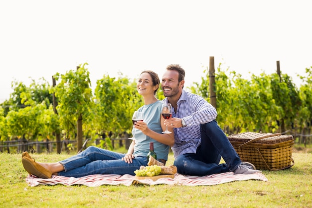 Happy couple with wineglasses sitting at lawn