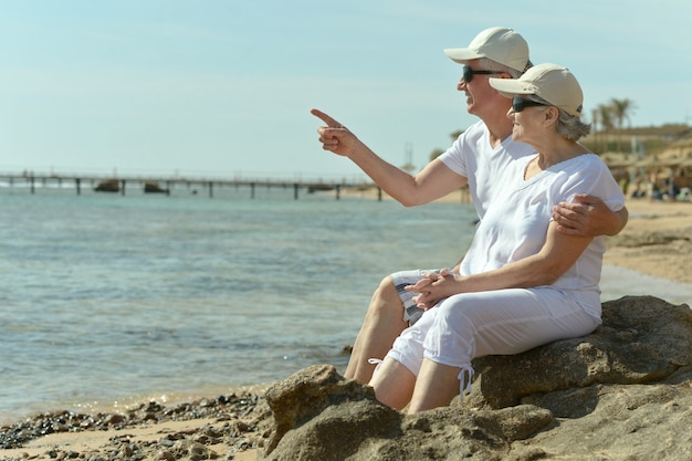 海を見ているサングラスで幸せなかわいい年配のカップル