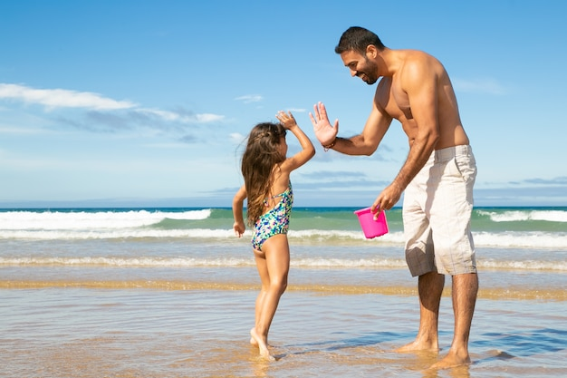 Happy dad and little daughter picking shells with bucket on beach together, giving high five