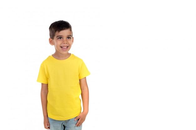 Happy dark child with yellow t-shirt