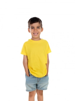 Happy dark child with yellow t-shirt