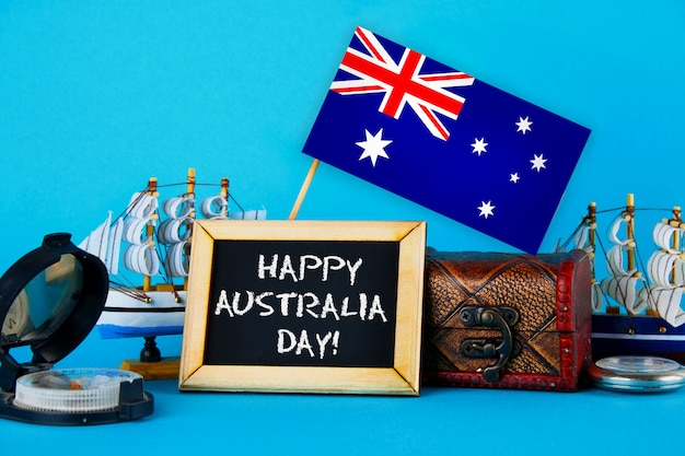 Happy day australia surrounded shipwrights, compass, clock and australian flag
