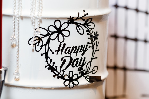 Happy day lettering on birthday party decoration