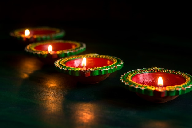 Happy diwali lit candles