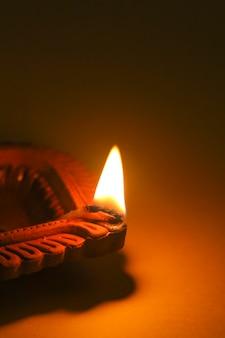 Happy diwali oil lamp