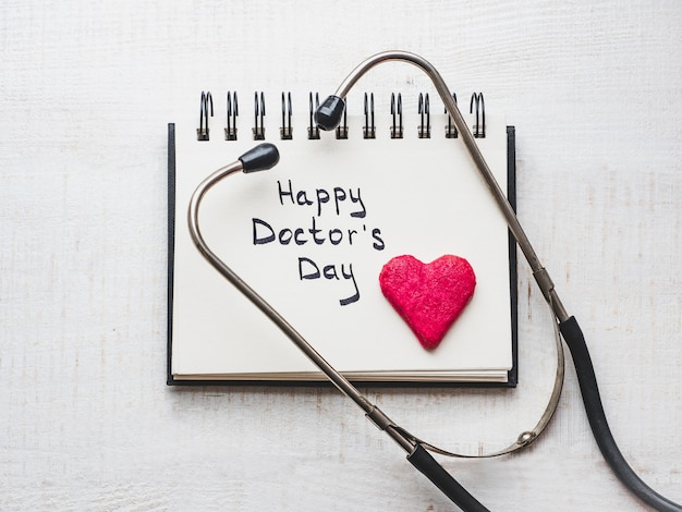 Happy doctor's day. beautiful greeting card. isolated background