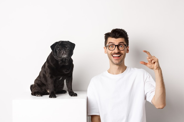 Happy dog owner sitting near cute black pug, smiling and showing small little size, white