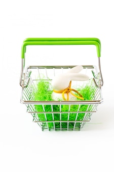 Happy easter background.eggs colorful in the shopping basket