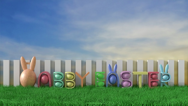 Happy easter background with colorful eggs on green meadow&on blue sky. greetings. 3d rend