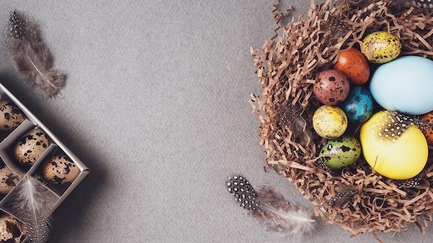 イースター、おめでとう。明るいお祝いのイースターの背景。上面図、フラットレイ、コピースペース。灰色の背景、クローズアップの巣にカラフルなイースターエッグと羽。