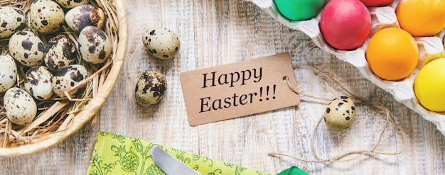 Happy easter card on brown wood table