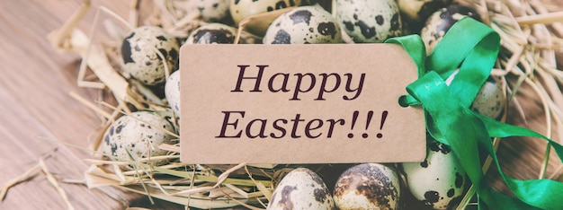 Happy easter card on eggs