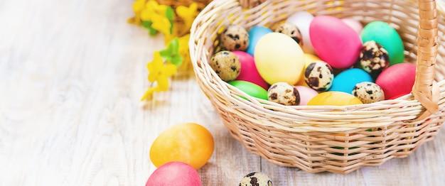 Happy easter celebration, easter eggs on basket