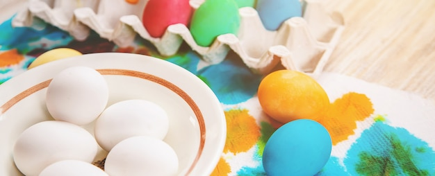 Happy easter celebration, easter eggs painted on plate