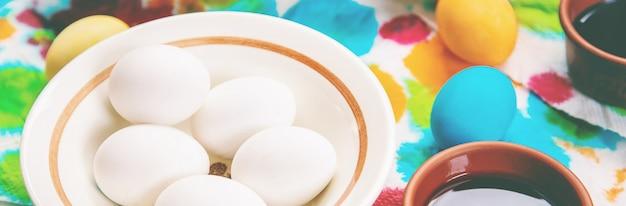 Happy easter celebration, easter eggs on plate