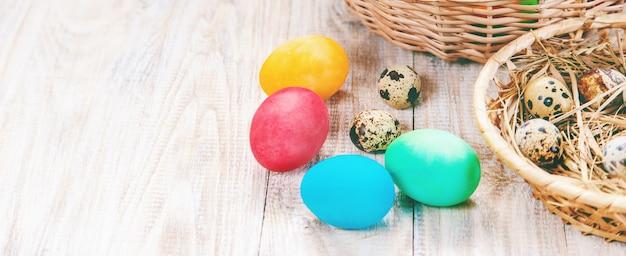 Happy easter celebration, easter eggs on white wood