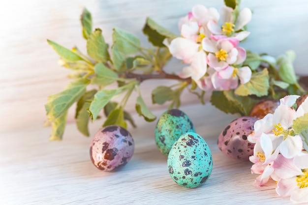 Счастливой пасхи, цветные перепелиные яйца, на фоне яблони, весеннего дерева. открытка к празднику
