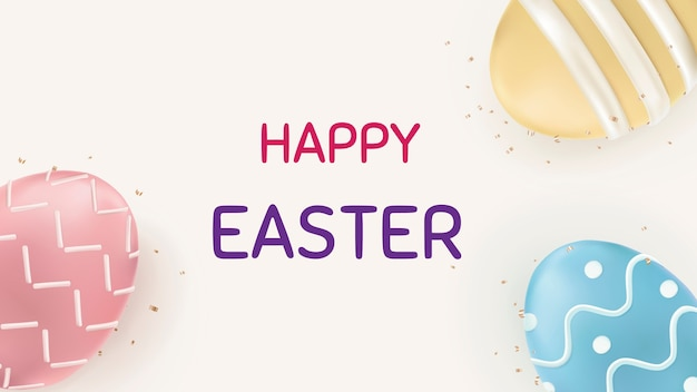 Felice pasqua uova colorate festival celebrazione saluto banner sociale