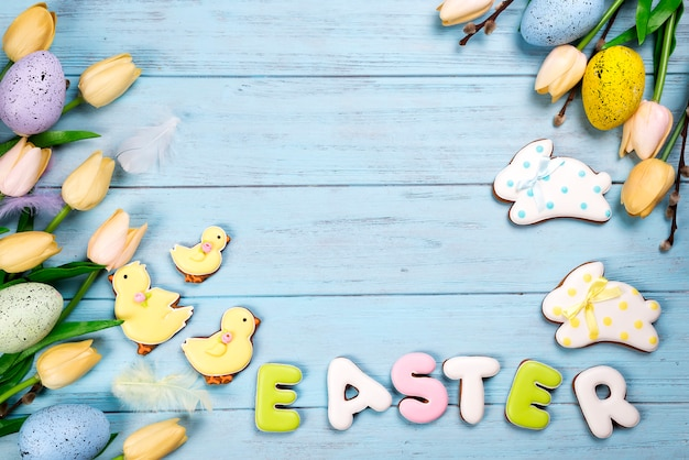 Happy easter colorful lettering easter of ginger biscuits and cookies bunny