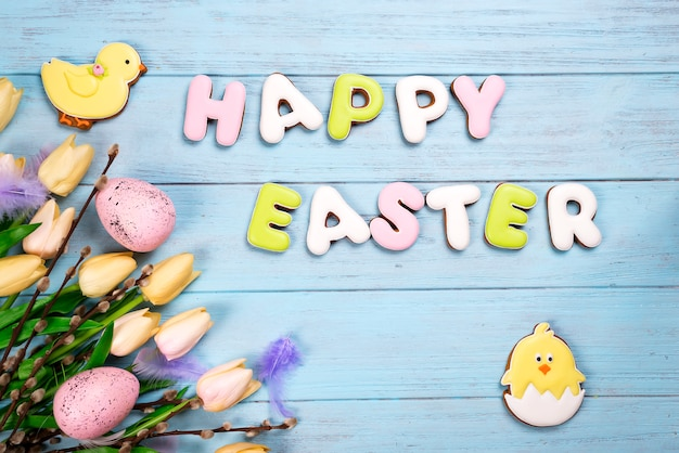Happy easter colorful lettering happy easter of ginger biscuits and cookies chicken