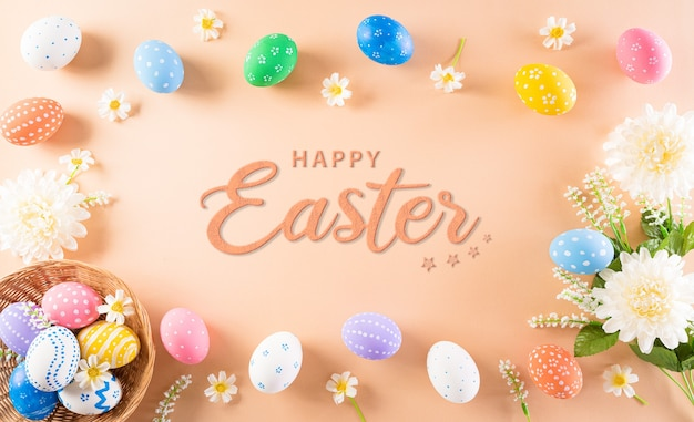 Счастливой пасхи красочные пасхальные яйца и цветок на пастели