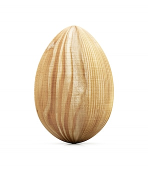 Happy easter concept. big wooden egg isolated on white background. 3d rendering