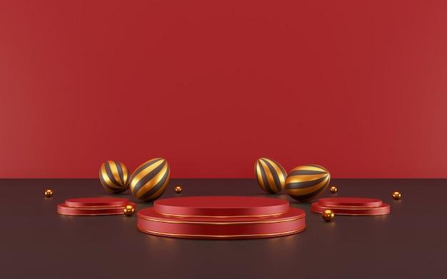 Счастливой пасхи концепция минимальная сцена с геометрическими формами цилиндрический подиум