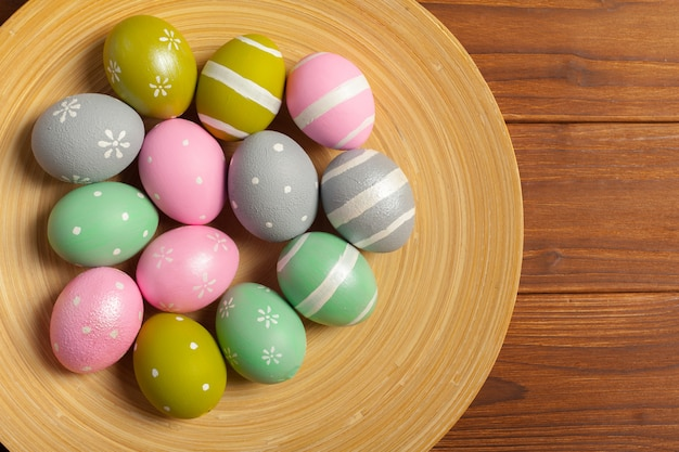 Happy easter! easter eggs on woode