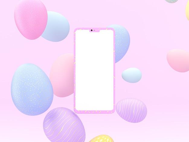 オンラインプロモーションバナー3dレンダリングのための携帯電話のモックアップとハッピーイースターエッグの背景