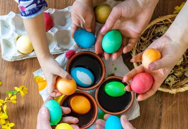 Happy easter. eggs selective focus.