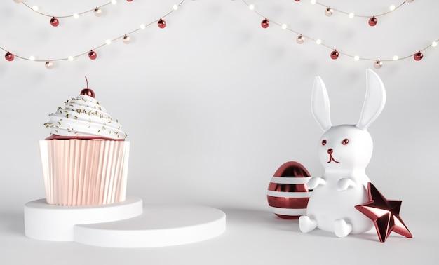 Поздравительная открытка счастливой пасхи с кексом, постаментами, кроликом и яйцами
