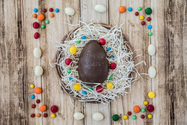 Happy easter inscription on chocolate egg