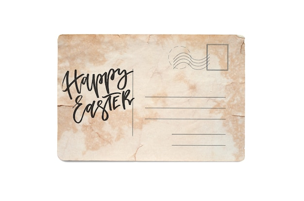 Happy easter. lettering on a vintage postcard. isolated on white.