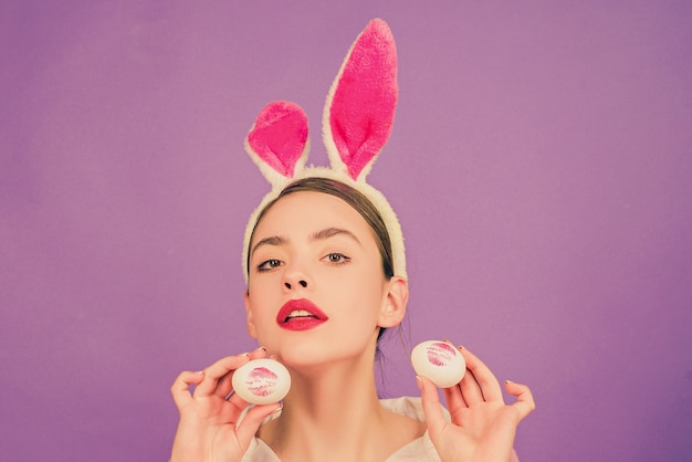 Happy easter. lipstick kiss print on easter egg. egg hunt. lips and easter, lipstick kiss imprint on