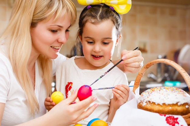 Happy easter a mother and her daughter painting easter eggs