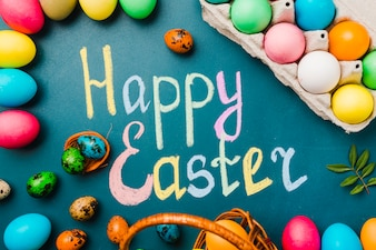 Happy Easter title near set of branch, container and colored eggs