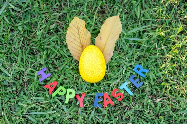 Happy easter with colorful eggs cute bunny in the morning, funny decoration in grass spring season