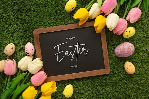卵と花とハッピーイースター木製看板