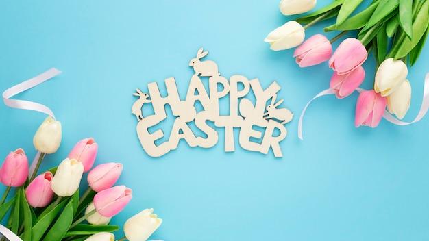 Счастливой пасхи деревянный знак с тюльпанами на синем фоне