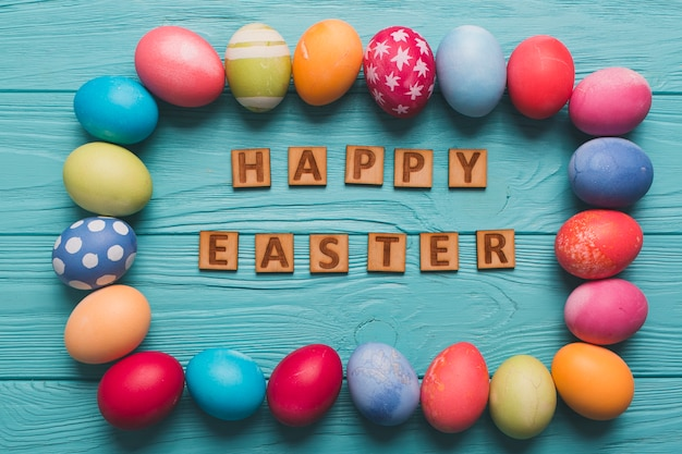 Happy easter writing in egg border