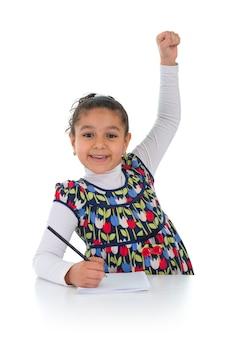 Happy education schoolgirl isolated on white background