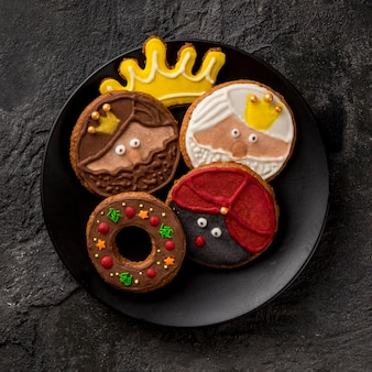 Happy epiphany tasty biscuits flat lay