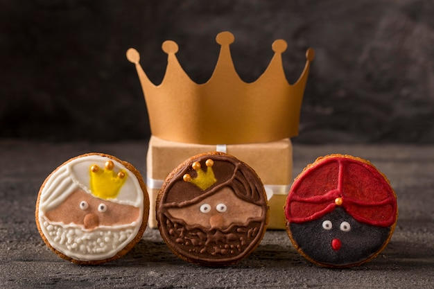 Happy epiphany tasty biscuits and gold crown