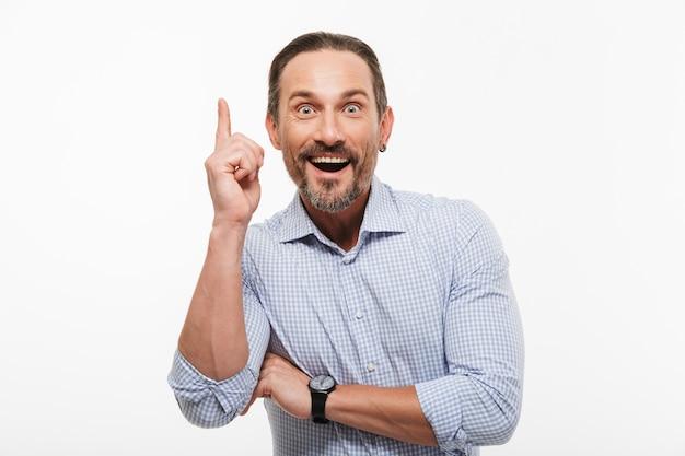 Happy excited handsome mature businessman