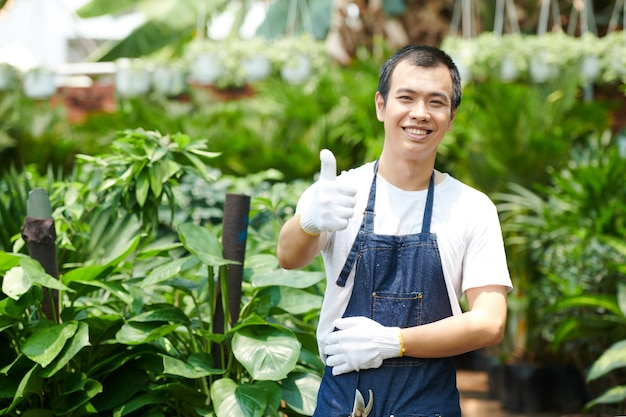 Happy excited young greenhouse worker in protective glove showing thumbs-up and smiling at camera
