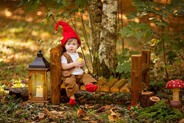 Happy fairy forest gnome plays and walks in the forest, collects and eats delicious apples.