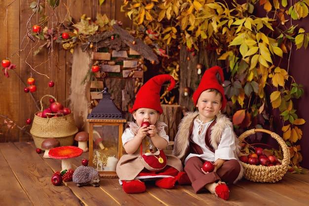 Счастливый сказочный маленький гном мальчик и девочка