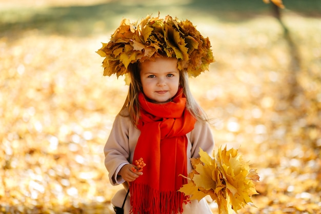 Happy family on autumn walk